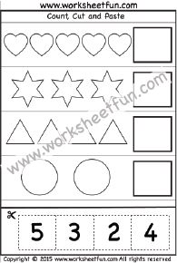 Cut and Paste Activity  – Count, Cut and Paste – 1 Worksheet