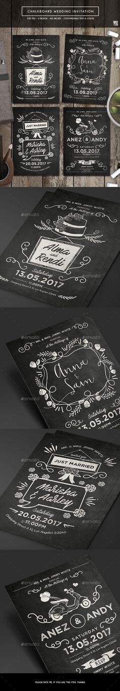 Watercolor Wedding Invitation Font logo - chalk board invitation template