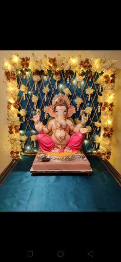 Ganesh Idol, Ganesha, Ganpati Decoration Design, Ganesh Chaturthi Decoration, Janmashtami Decoration, Ganapati Decoration, Diwali Diy, Small Balcony Decor, Ganpati Bappa