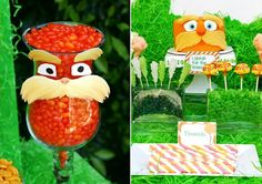 The Lorax Movie Themed Birthday Party - adorable fondant cake and jar accents, not hard to do either.