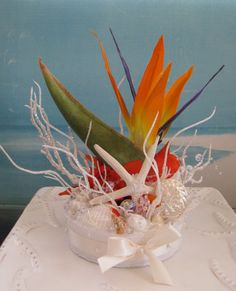 Bird of Paradise Wedding Cake Topper~~ Seashell and Starfish Topper by CeShoreTreasures:)