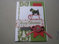 Homemade Christmas Card- dog on a sleigh- with envelope- die cut card  by ScrapPantry, $4.00 USD
