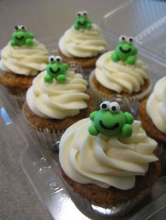Frog Cupcakes Made for a friend who just had a baby. The baby's room has a frog theme so I did my best to make little frogs!