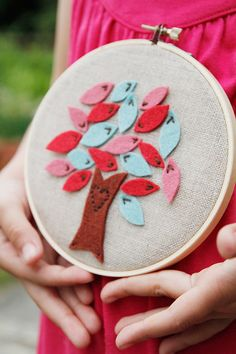 Hand-embroidered Felt Tree with Felt Leaves by Catshy Crafts.. via Etsy.