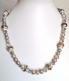 Pink potato freshwater pearl & vintage Venetian white lampwork glass bead necklace