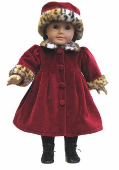 Burgundy Velour Dress & Hat, Cheetah Fur Trim for American Girl Doll Clothes #Generic