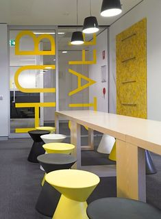 Black and yellow Office Interior Conference Room Design Office Space Design, Office Interior Design, Office Designs, Cool Office Space, Small Office, Interior Ideas, Corporate Interiors, Office Interiors, Commercial Design