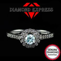 3/4 Ct Brilliant Cut Green Moissanite W/ Genuine Diamond Solitaire Engagement With Accents Engagement Ring In 14K Gold. Starting at $29