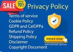 Privacy Policy Gig has Limited Time Offer Order Now SAVE 70% off Privacy Policy and Terms and conditions are the Most Important for your business website and App, Legal Documents i.e Privacy Policy and TOS Shield your business and it should be draft by the Professional to protect you legally in any aspect. Protect your Website and Applications from Claims. What you Get : Privacy Policy GDPR and ColOPPA Terms and conditions Refund Policy Shipping Policy Disclaimer Cookie Policy Cookies Policy, Business Website, Writing Services, Privacy Policy, Terms Of Service, App, Apps