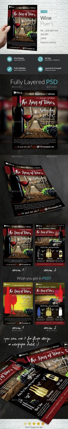 Wine A4 Flyer Template  — PSD Template • Only available here ➝…