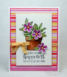 Stampin' Up! Basket of Blooms Card for the Happy Inkin' Thursday Blog Hop - Stamping With Kristi Stampin Up Catalog, Fancy Fold Cards, 3d Cards, Stamping Up Cards, Heartfelt Creations, Card Kit, Baby Cards, Flower Cards, Creative Cards