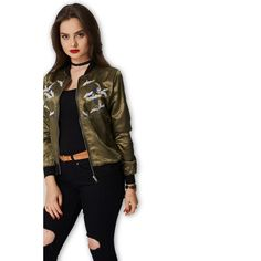 Khaki Bomber Jacket With Embroidered Birds Trends: #$20-$50 #10 #12 #14 #16 #8 #Apparel #Jackets #Modalyst #ModernOutfitters #Outerwear #Women Modern Outfitters from #Aiyza Clothing Couturier