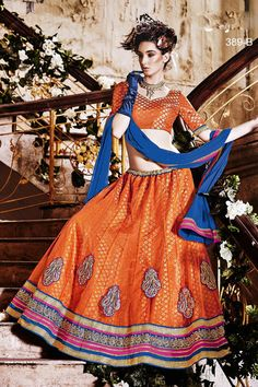 ef332c3a52b Designer Orange Wedding Wear Net Lehengha 389b Buy Lehenga Online