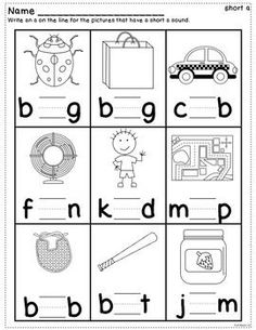 Short Vowel Practice Worksheets by Kathleen G's Kindergarten Vowel Worksheets, Kindergarten Worksheets, Preschool Activities, Short Vowel Activities, Conscience Phonémique, Vowel Practice, Jolly Phonics, Short Vowels, Cvc Words