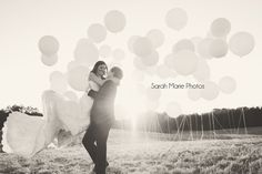 Styled Wedding shoot.  Balloons in a field :) this would actually be cute for an engagement announcement