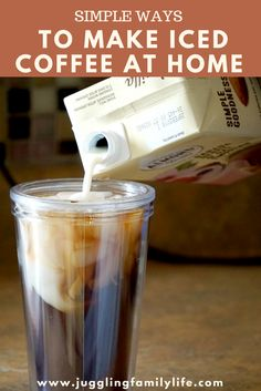 iced coffee Buying iced coffee can be costly. Stop buying it and make it yourself! Learn how to save money and make iced coffee at home with these tips. via dianenassy Healthy Iced Coffee, Homemade Iced Coffee, Best Iced Coffee, Iced Coffee At Home, Iced Coffee Drinks, Coffee Drink Recipes, Coffee Cans, Coffee Coffee, Iced Coffee Keurig