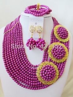 Find More Jewelry Sets Information about Pretty! PurpleTurquoise 3 Brooches Costume Necklaces Nigerian Wedding African Beads Jewelry Set TC110,High Quality Jewelry Sets from Alisa's Jewelry DIY Store on Aliexpress.com Diy Store, Costume Necklaces, African Beads, Turquoise Beads, Jewelry Sets, Brooches, Crochet Necklace, Pretty, Wedding