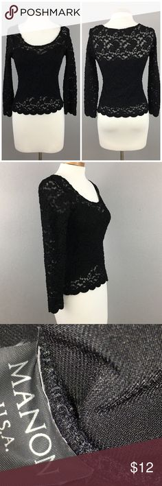 Mannon Black Stretch Lace Long Sleeve Blouse Mannon Black Stretch Lace Long Sleeve Blouse. Size small. Thank you for looking at my listing. Please feel free to comment with any questions (no trades/modeling). •Condition: GUC, no holes or stains.   25% off all Bundles or 3+ items! Reasonable offers welcome. Visit me on INSTA @reupfashions. I A Vintage Tops Blouses