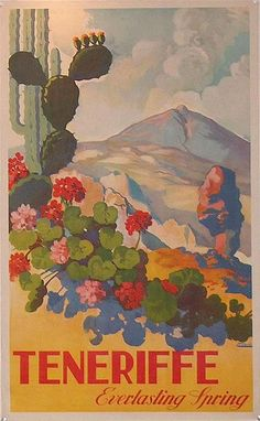 For Sale / Posters – Travel Tenerife Canary Islands Spain Printemps Eternal Spring Spain / / Travel Posters / J Davo / Retro Poster, Poster S, Sale Poster, Vintage Travel Posters, Vintage Postcards, Poster Prints, Posters Decor, Cool Posters, Party Vintage