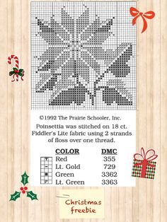 Offered for free in 1992 on PS website. Cross Stitch Freebies, Cross Stitch Charts, Cross Stitch Patterns, Cross Stitching, Cross Stitch Embroidery, Christmas Cross, Christmas Ornaments, Prairie School, Miniature Quilts