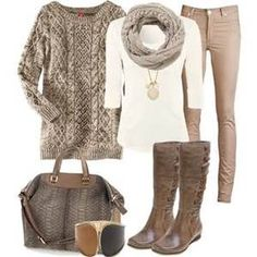 Warm tones with this tan sweater, skinny pants. Paired with matching scarf, boots and a bag. Stitchfix fall fashions. Try stitch fix subscription box :) It's a personal styling service! 1. Sign up with my referral link. (Just click pic) 2. Fill out style profile! Make sure to be specific in notes. 3. Schedule fix and Enjoy :) There's a $20 styling fee but will be put towards any purchase!