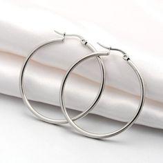 "3mm x 2 1//4/"" 55mm Polished Round Plain Hoop Earrings 925 Sterling Silver"