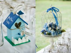 Blue colors for this wedding at Greenwell State Park. So pretty and bright! Photo by Birds of a Feather Photography.