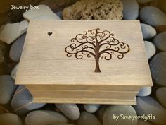 Your place to buy and sell all things handmade Handmade Jewelry Box, Wooden Jewelry Boxes, Tree Of Life Images, Wooden Music Box, Musical Jewelry Box, Up Music, Maid Of Honour Gifts, Small Gift Boxes, Tiny Heart