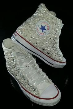 3f8de14d41ac Bridal Converse- Wedding Converse- Bling   Pearls Custom Converse Sneakers-  Personalized Chuck Taylors- All Star Converse Sneakers- Bride by  DivineUnlimited ...