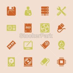Computer Hardware Icons Set 2 - Color Series | EPS10 | Vector | StockerPark