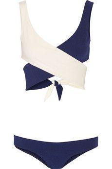 Lisa Marie Fernandez Marie-Louise two-tone crepe wrap bikini | NET-A-PORTER