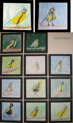 Koolmees. Groep 4, kleurpotlood op papier. Jan 2014