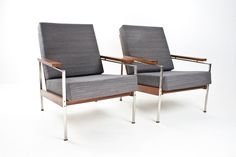 1950s Rob Parry Set Easy Chair Chrome and Wood with separate cushions, new upholstered. Designed for Gelderland (Netherlands)