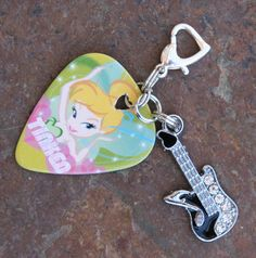 Disney  Inspired Tinkerbell Style Guitar Pick Zipper by chuckhljal, $15.00