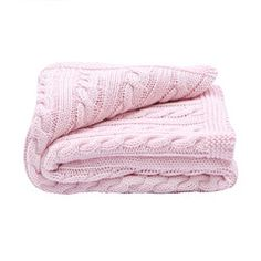 Toffeemoon Pale Pink Cable Knit Blanket