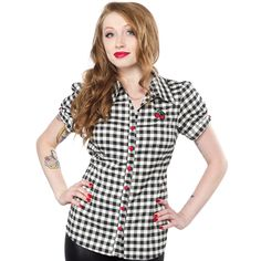 SOURPUSS CHERRY GINGHAM TOP - This brand new Cherry Gingham Top is rockabilly perfection! The heavier-weight, gingham shirting fabric will stand the test of time, and the adorable cherry embroidery and contrast buttons make it a keeper all year long. It has a little bit of stretch and adjustable back ties for a great fit. Layer it with your favorite cardigan and pencil skirt, or pair with some high waisted skinny jeans and wedges, and you're one hot pinup!