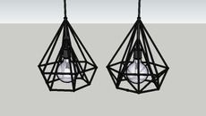 3D Model of Industrial Metal Diamond Pendant Lights