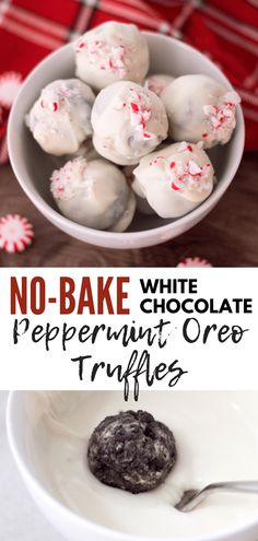 No-Bake White Chocolate Peppermint Oreo Truffles are one of the PERFECT desserts to fill your holiday table with. It's cheesecake-like interior will make this scrumptious no-bake holiday treat! baking No-Bake White Chocolate Peppermint Oreo Truffles Dessert Party, Appetizer Dessert, Cookie Desserts, Chocolate Desserts, Peppermint Chocolate, Cake Chocolate, Delicious Chocolate, Chocolate Truffles, Baking Chocolate
