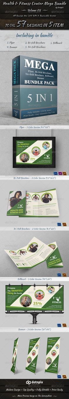 Health & Fitness Center Mega Bundle Billboard Template PSD, Vector EPS, InDesign INDD, Vector AI. Download here: http://graphicriver.net/item/health-fitness-center-mega-bundle-volume-2/8228873?s_rank=166&ref=yinkira