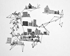 City with Black Ink Diamonds 8x10 Print by sometimesiswirl on Etsy, $25.00