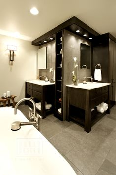 contemporary master bath with dual sink areas.   His and her separate sinks ❤