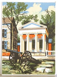 New England First National Bank Serigraph 1950's www.midcenturyserigraph.com