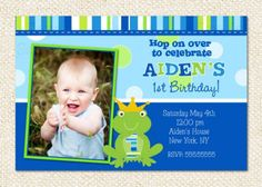 Little Prince frog Birthday Party Invitations Frog Birthday Party, 1st Birthday Parties, 3rd Birthday, Birthday Ideas, Construction Birthday Invitations, Construction Party, Birthday Invitation Message, Birthday Party Invitations, Birthday Tarpaulin Design