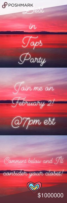 Co-hosting 2/2 Best in Tops Party! Join me tomorrow at 7pm for the Best in Tops Party ❤️! Comment below and I'll consider your items as host picks 🎉🎉 Tops