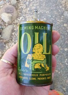 A sewing machine oil tin.