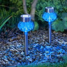Blue Solar Garden Lights Outside Lighting Ideas Outdoor Landscape