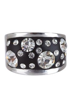 Silver Black Crystal Ring - I love rings with stones inset in a wide flat band.  Good template for a wedding ring ....