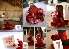 eclectic red centerpieces