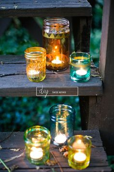 How to Tint Glass and Turn Old Jars Into Pretty Colored DIY Votives