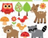 Woodland Animal - Clip Art 1.5 inch Circle Digital Collage Sheet - Commercial use for Cupcake Toppers, Magnets, Paper Crafts and Products. $2.99, via Etsy.